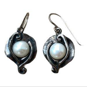 925 Silver and Pearl dangle earrings Israel